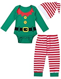 iiniim 3 pcs Pelele + Pantalones + Gorro Disfraces Duende Navidad Bebé Niño Niña Mameluco Algodón Traje Infantil Disfraz Conjunto Manga Larga Romper (3-12 Meses)