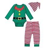 iiniim 3 pcs Pelele + Pantalones + Gorro Disfraces Duende Navidad Bebé Niño Niña Mameluco Algodón Traje Infantil Disfraz Conjunto Manga Larga Romper (3-12 Meses) Verde 3-6 Meses