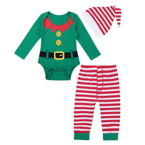 (dPois Baby Weihnachten Outfits Bekleidungsset Langarm Strampler Body Kinder Schlafanzug Pyjama Set Elf Kostüm Kinderkleidung Fasching Karneval Verkleidung Grün 50-56/0-3 Monate)