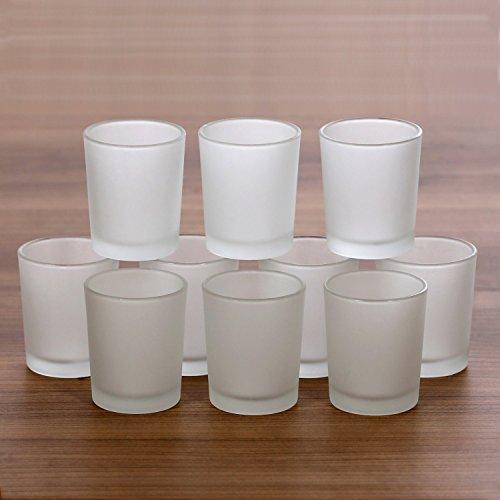 Teelichthalter, hohe Teelichtgläser gefrostet, 40mm - Teelicht Glas, Windlicht für Standard Teelichtkerzen, Größe:10er Set