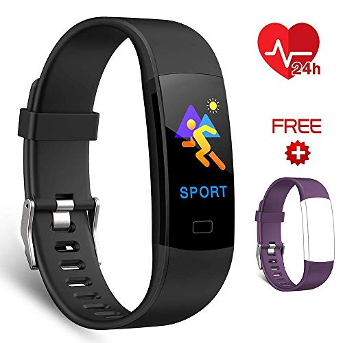 EFO SHM Fitness Armband Fitness Trackers Aktivitätstracker mit Pulsmesser, Fitness Uhr Armbanduhr Schrittzähler Call SMS Whatsapp Note for iPhone Android Mobile Phone. (Black+Purple Strap) -