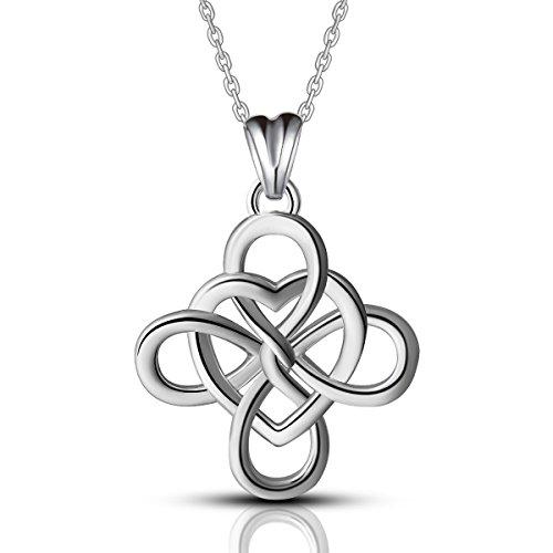 AEONSLOVE Keltischer Knoten 925 Sterling Silber Herz Unendlichkeit Halskette Anhänger Damen Schmuck