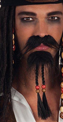 Boland 01811 - Schnurrbart und Bart Pirat, Einheitsgröße, schwarz