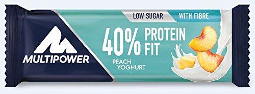 Multipower 40% Protein Fit – 24 x 35 g Eiweißriegel Box – Pfirsich Joghurt – Fitnessriegel mit 40 % hochwertigem Milchprotein – 14 g Eiweiß pro Proteinriegel (K-joghurt Special)