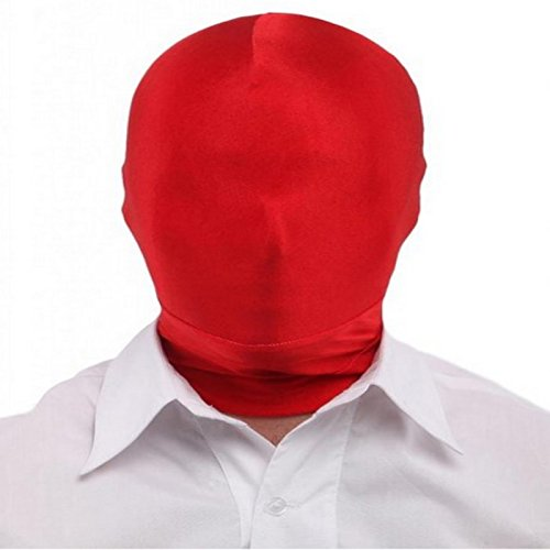 Dolity Herren Damen Spandex Stoff Maske Kopfmaske Morph Maske Halloween Cosplay Zentai Kostüm - Rot