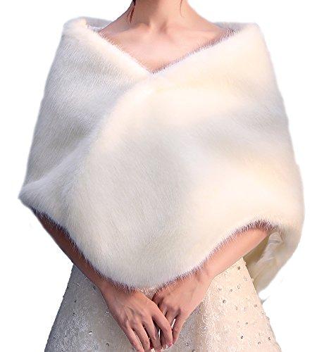 FOLOBE Hochzeit Faux Pelz Braut Schals Jacke Stolen Frauen verdicken Faux Pelz Wrap Schals Shrug Warm Poncho f¨¹r Winter Brautkleid