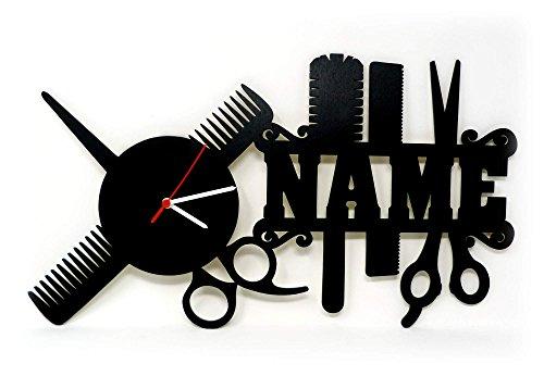 Spezial Holz Wand-Uhr Friseur-Geschenk Schere lustige witzige Haar-Schneide Frauen-Geschenke mit Namen individuell für Freund-in Friseure Friseur-Salon Haar-Studio Stylist-en Zubehör personalisiert (Wand-uhr)