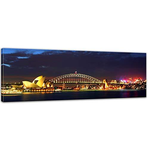 Keilrahmenbild - Sydney Opera House und die Harbour Bridge - Bild auf Leinwand - 120 x 40 cm - Leinwandbilder - Bilder als Leinwanddruck - Städte & Kulturen - Australien - Sydney bei Nacht
