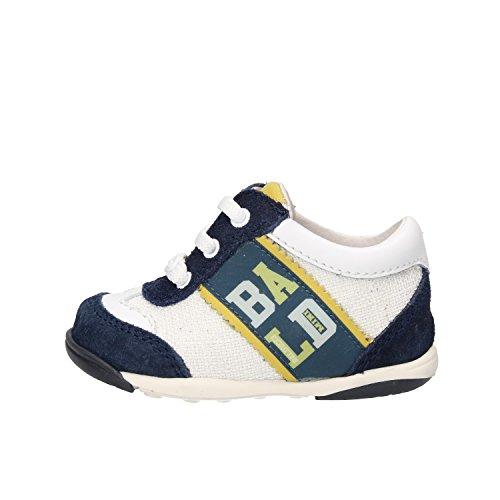 BALDUCCI sneakers bambino bianco blu camoscio tessuto pelle AF305 (18 EU)