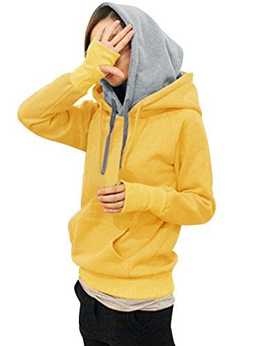 Faux 2 pièces pour femme Poche kangourou Sweat-shirt à capuche avec cordon de serrage Jaune - Jaune