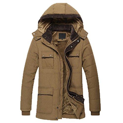 OHmais homme parka manteau d'hiver veste à capuche fourré kaki clair