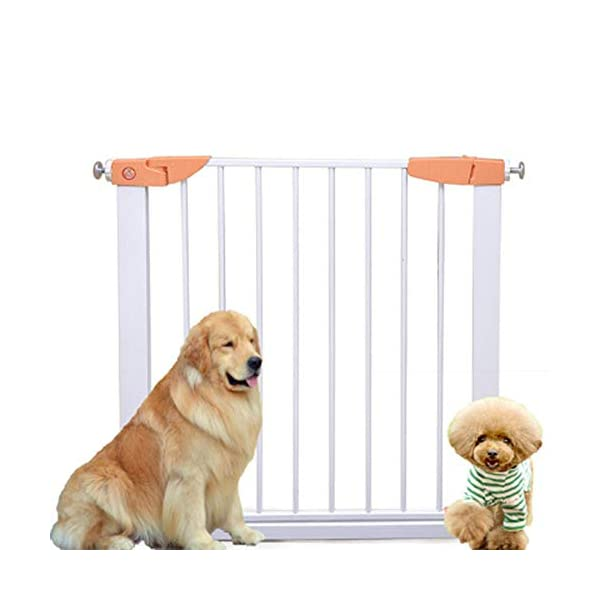 Pet fence safety door guardrail baby pole corridor stairs balcony cat and dog pet isolation gate AA-SS-Safety Door ♥Squeeze and lift handle for easy one handed adult opening ♥Quick-release fittings for removal when not required ♥Includes stop pins for mounting at the top of stairs 1