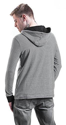 Urban Classics Stripe Jersey Hoodie Hooded-Longsleeve schwarz/weiß Mehrfarbig (Blk/Wht 00050)
