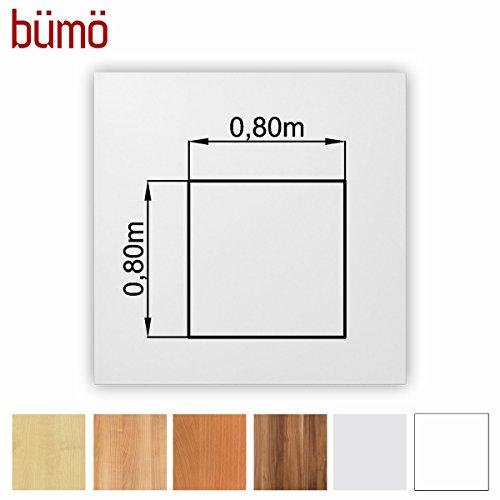 Bümö® stabile Tischplatte 2,5 cm stark - DIY Schreibtischplatte aus Holz | Bürotischplatte belastbar mit 120 kg | Spanholzplatte in vielen Formen & Dekoren| Platte für Büro, Tisch & mehr (Quadrat: 80 x 80 cm, Weiß)