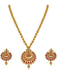 I Jewels Exquisite Gold-Plated Red Laxmi Necklace Set For Women (MS145R)