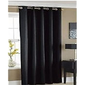 Attractive EYELET THERMAL BLACKOUT CURTAINS   BLACK   66 Inch X 54 Inch Ring Top