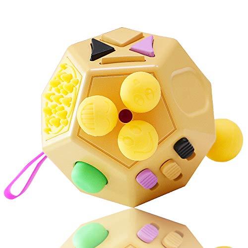 VCOSTORE Fidget Cube 12 Seiten Stresswürfel, Angst Entlastung, Tragbares Anti Stress Spielzeug für Kinder und Erwachsene mit ADHS ADD OCD Autismus (Gelb)