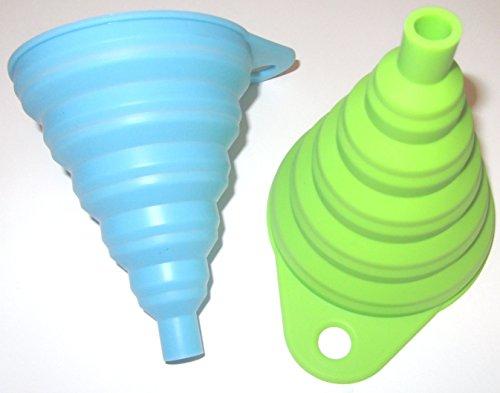 Silikon Falttrichter grün 1 Trichter der Kleine ist 8cm flexibel und platzsparend verstaubar für Küche & Heimwerken (Grün) - 5