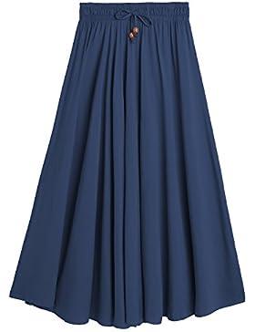 [Patrocinado]DEBAIJIA Easy Chic Falda Mujer Maxi Algodón Verano Playa Casual Casa Clásica Moda Vintage Plisada Cintura Elástica
