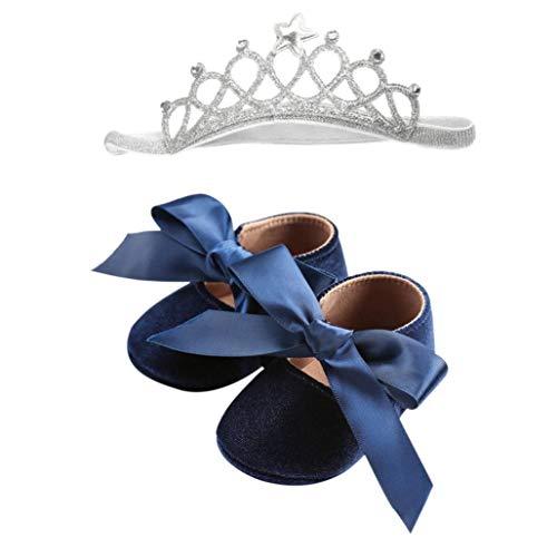 Ballerine per ragazze- sandali di principessa - scarpine neonato - scarpe primi passi - in flanella di cotone, scarpine e royal fascia 6-18 mesi, di uomogo