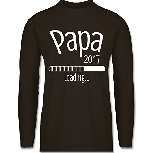Vatertag - Papa 2017 loading - Longsleeve / langärmeliges T-Shirt für Herren Braun