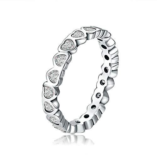 XJYA S925 Sterling Silber Damen Ring, Mein Herz Sterling Silber Mode Ring Persönlichkeit Tragen Weiblichen Ring,7#