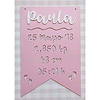 Placa decorativa infantil de madera en forma de banderín personalizada con el nombre y datos de nacimiento bebé infantil, regalo recién nacido niño y niña para decoración habitación