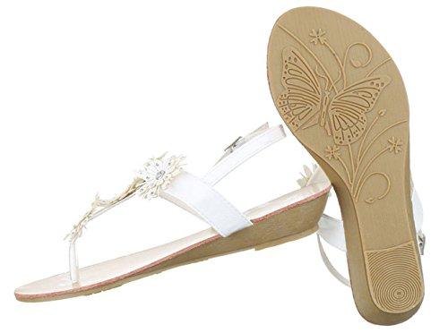 Damen Sandalen Schuhe Sommerschuhe Strandschuhe Zehentrenner Schwarz Beige Rot Weiß 36 37 38 39 40 41 Weiß