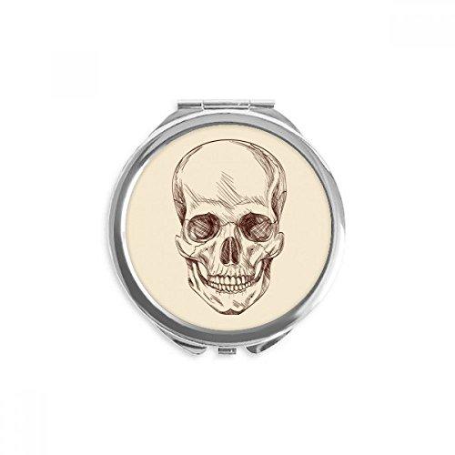 her Schädel Skelett Illustrationen Spiegel Runde bewegliche Handtasche Make-up 2.6 Zoll x 2.4 Zoll x 0.3 Zoll Mehrfarbig ()