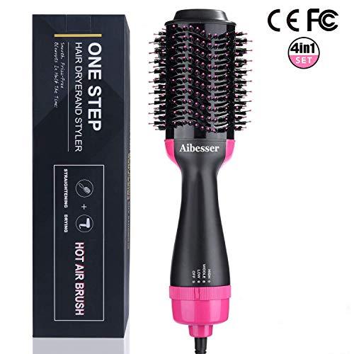 Aibesser 4 in 1 Haartrockner Multifunktion Warmluftbürste Salon Hair Styler Volumizer Volumen bürste Heißluftkamm Föhnbürste Haarglätter Bürste Negativer Ionen Föhn für alle Haartypen