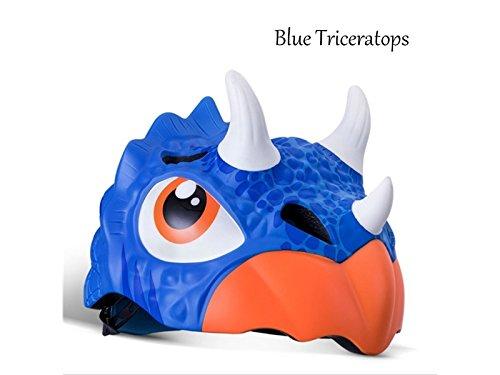 PanpA Casco de Montar a Caballo del Casco de los niños Casco de la Bici del Casco del Medio Casco de la Historieta (Triceratops Azul)