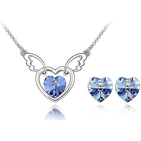 ROXI Bling Set di gioielli da donna in oro 18carati placcato orecchini e collana da Ali di angelo cuore cristallo viola/blu - 14k Oro Angelo Fascino