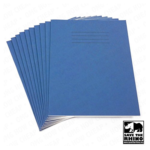 Rhino - School Exercise Books - A5 - Lined - 48 Pages - Pack of 10 - Blue Cover