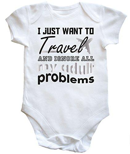 hippowarehouse I Just Want To Travel und Ignorieren alle My Erwachsene Probleme Baby Weste Jungen Mädchen Gr. 18-24 Monate, weiß