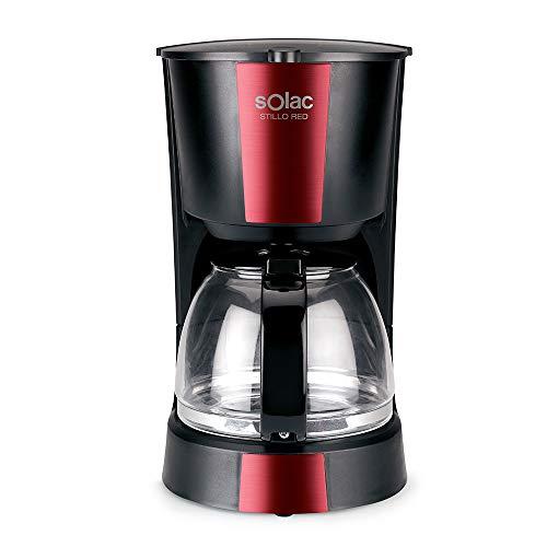 Solac CF4029 Stillo Red Cafetera de goteo de 1,2 litros, 12 tazas de café, 900W, Negro y rojo