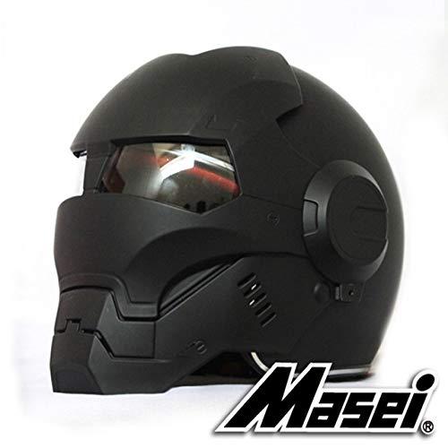 Casco Iron Man negro Casco motocicleta Casco retro