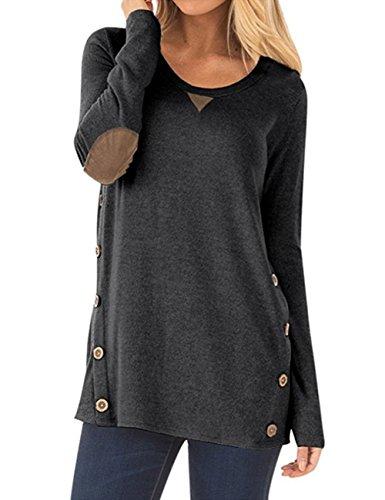 Helury Einfarbig Shirt Langarm Pullover Damen Knöpfe T-Shirt Rundhals Bested Lang Frauen Bluse Oberteile(S-XXL) (Dunkelgrau, XXL)