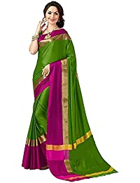 Sarees For Women Sarees New Collection Sarees For Women Latest Design Women's Green Cotton Silk Saree With Blouse...