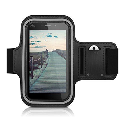 Galleria fotografica kwmobile fascia da braccio sportiva per Wiko Pulp 4G (5) - jogging corsa borsa da sport fascia fitness con scomparto per chiavi nella fascia da braccio in nero