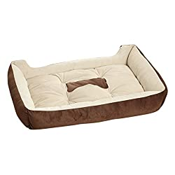 S , coffee : TOOGOO(R) Warm Soft Cotton Pet Dog Kennel Cat Puppy Bed Mat Pad House Kennel Cushion coffee-S