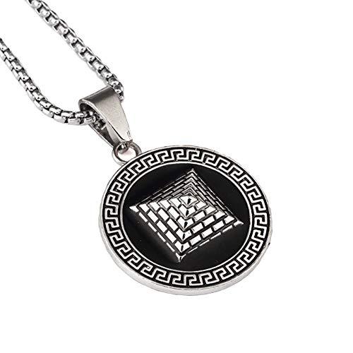 """YABEME 18k Gold Silber überzogene Herren Hip Hop ägyptische Pyramide Halskette mit 30\"""" Zoll Kette Dreieck Anhängern"""