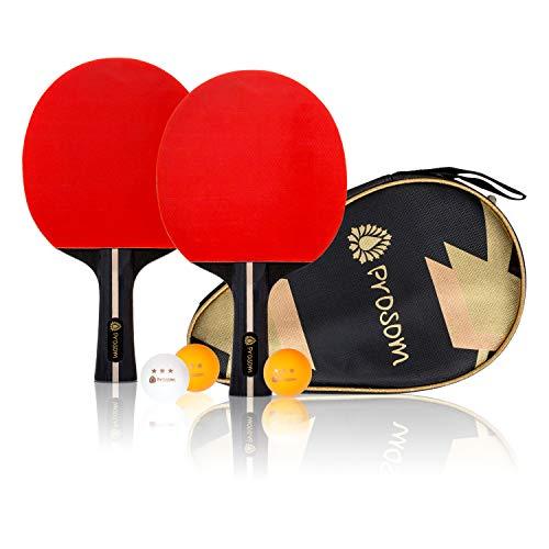 Prosom Tischtennisschlaeger Set | 2 Tischtennisschläger + 3 Stern Bälle | Doppelschläger-Hülle | Langlebige Beläge | Ergonomischer Griff | Konformer Halt | Tischtennis Set für Anfänger und Profi