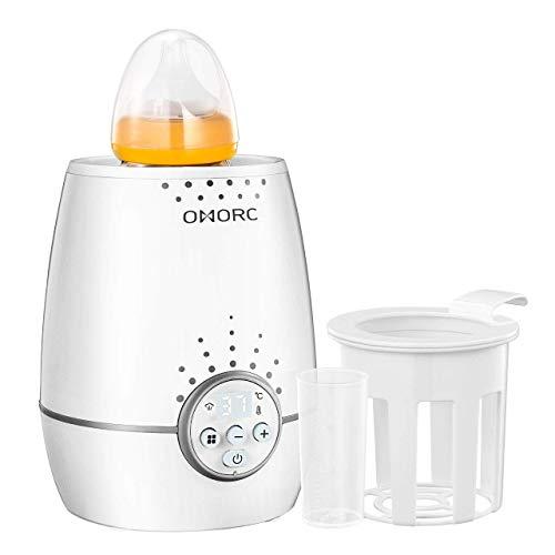 Fläschenwärmer Baby OMORC 3-in-1 Babykostwärme mit LED Display 2000W schnelle Erwärmung für Schnelle Aufheizung, Desinfektion, Wärmehaltung-Weiß