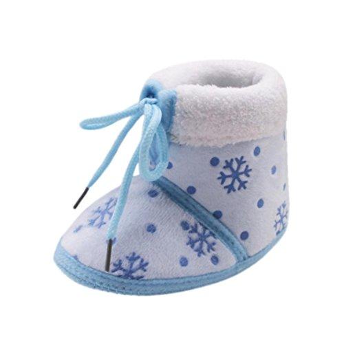Baby Kleinkinder Wanderschuhe mingfa 0–18Monate Jungen Mädchen Winter Schuhe Süße weicher Sohle Dicke Weihnachten Schnee Stiefel Age:0~6 Month blau (Täglichen Bootie Baby)