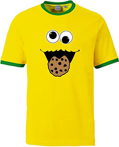 EZYshirt Cookie Monster Herren T-Shirt Rundhals Ringer -