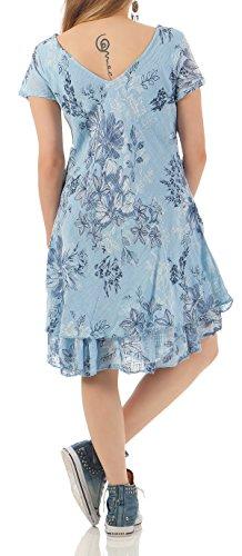 ZARMEXX Sommerkleid knielang doppellagig Baumwolle Kleid Strandkleid V-Ausschnitt floraler All-Over Print Hellblau