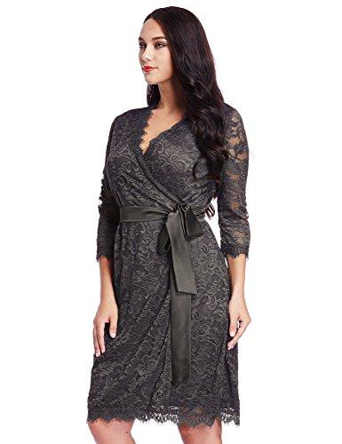 LookbookStore Maxi robe femme grande taille dentelle motif floral col en V extensible à la taille Gris