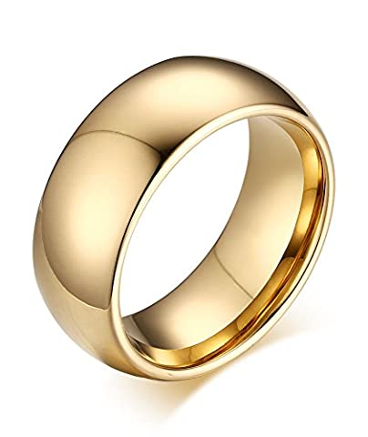Vnox 8mm Mens Womens High Polish Tungsten Carbide Comfort Fit Domed Wedding Band Ring Jewelry,Gold,UK Size L