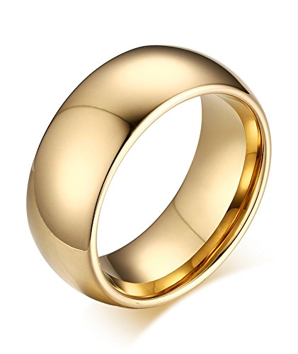 6c5b928a8f6 Vnox 8mm Mens Womens High Polish Tungsten Carbide Comfort Fit Domed Wedding  Band Ring Jewellery