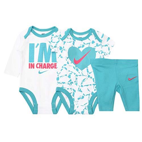 Nike Jordan Baby Boys' 3 Piece 2 Bodysuits and 1 Pants (9/12 Months, Hyper Jade(06B434-E80)/White)